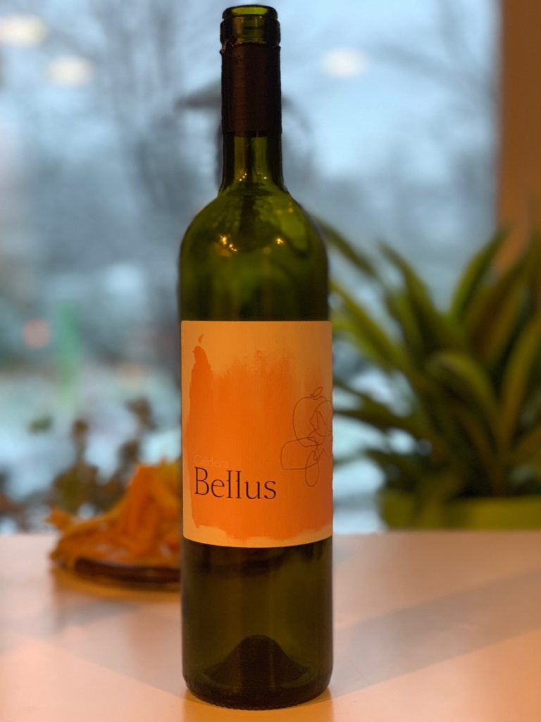A bottle of Bellus Wines Falanghina from Campania on a table.